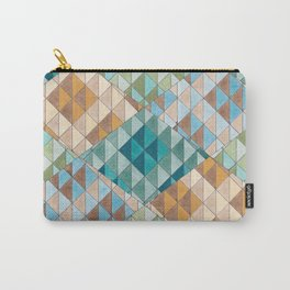 Triangle Patter No.15 Shifting Teal and Yellow Carry-All Pouch