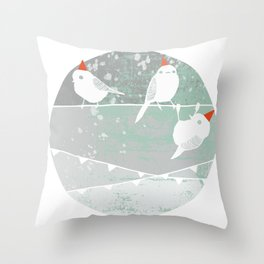 chickadee party friends Throw Pillow