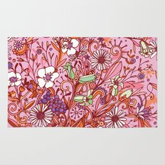 Daisy and Bellflower pattern, pink Rug