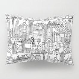 Seattle black white Pillow Sham