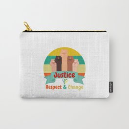 Retro Graphic For Justice Respect Change Black Carry-All Pouch