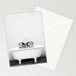 Three Little Pigs in a Vintage Bathtub (bw) Stationery Cards