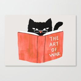Cat reading book Canvas Print