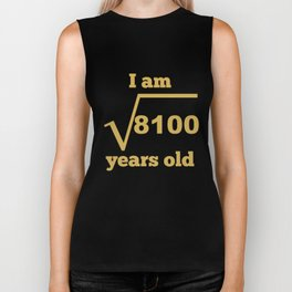 I Am 90 Years Old Square Root Funny 90th Birthday Biker Tank