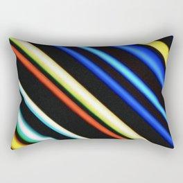 Red yellow blue and black stripes diagonal Rectangular Pillow