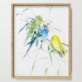 Parakeets green yellow blue bird decor Serving Tray