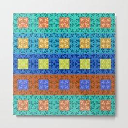 Simple retro Fresh Lines and Squares Metal Print