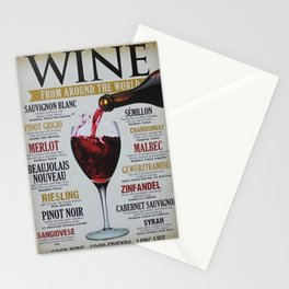 Vintage Wines from around the world Wine Advertisement Wall Art Stationery Cards