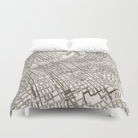 nashville Duvet Covers featuring Nashville Map by Zeke Tucker
