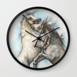 Fighting horses Wall Clock