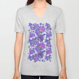 Deep pink and blue hand drawn hearts pattern Unisex V-Neck
