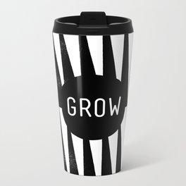 Black and White Grass (Customizable Label) Metal Travel Mug