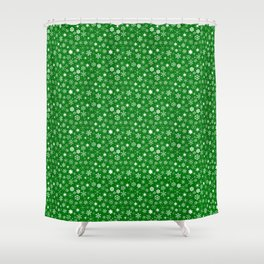 Evergreen Green & White Christmas Snowflakes Shower Curtain