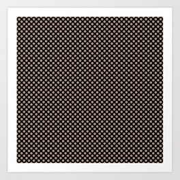 Black and Warm Taupe Polka Dots Art Print