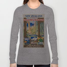 Vintage poster - Christchurch Long Sleeve T-shirt