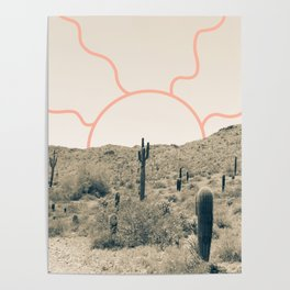 Wonder Rift // Abstract Vintage Mountains Summer Sun Surfer Beach Vibes Drawing Happy Wall Decor Poster