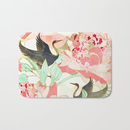 Floral Cranes Bath Mat