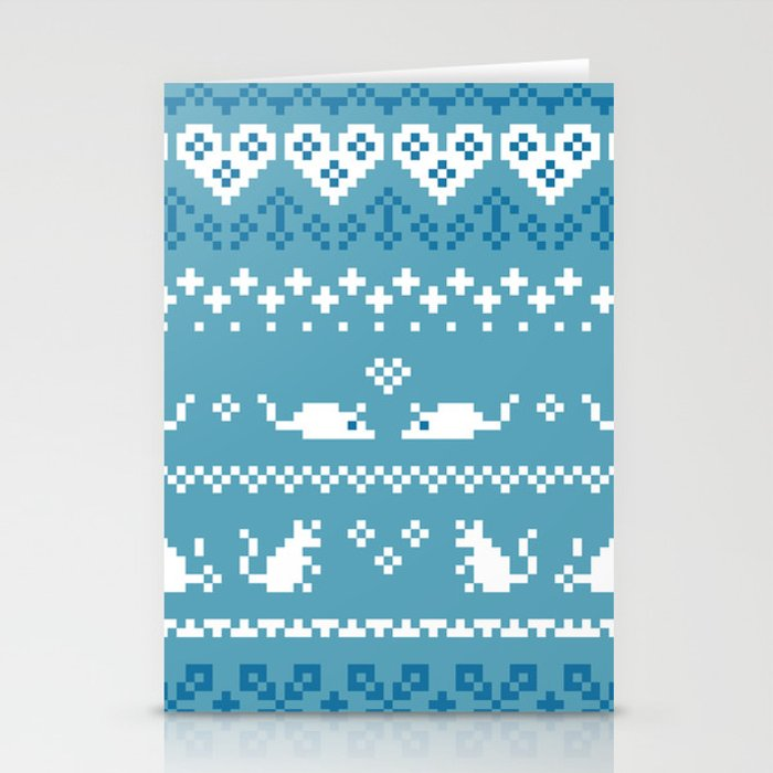 Pixel Rats Blue Stationery Cards
