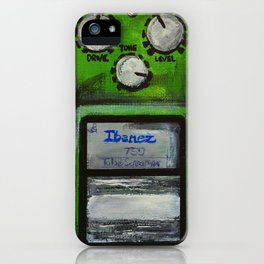 """Ibanez TS-9 Tube Screamer Guitar Pedal acrylics on 5"""" x 7"""" canvas board iPhone Case"""