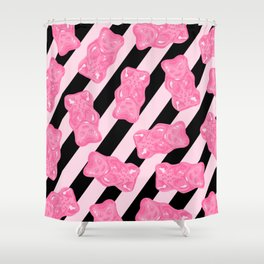 Jelly Beans & Gummy Bears Pattern - Pink and Black Shower Curtain