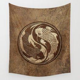 Yin Yang Koi Fish with Rough Texture Effect Wall Tapestry