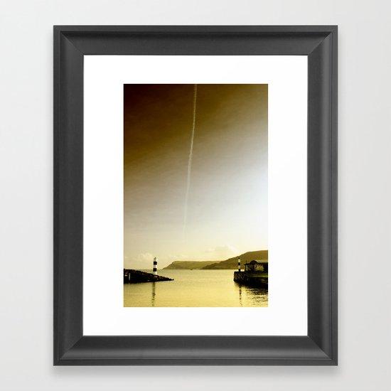Plane trails in the sunset Framed Art Print