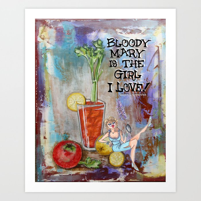 Bloody Mary Kitchen Bar Cocktail Poster Print Art Print By Cyndilou Society6