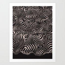 swirls with dots on black Art Print