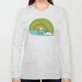 Rad Surf Kitty Tastes the Rainbow Single Fin Longboard Long Sleeve T-shirt