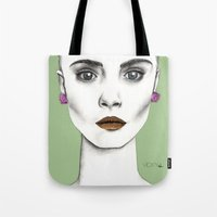 cara Tote Bags featuring Cara by Vicky Ink.