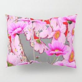 MODERN FUCHSIA  PINK FLOWERS  GREY & RED ABSTRACT ART Pillow Sham