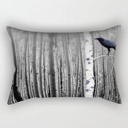 Black Bird Crow Tree Birch Forrest Black White Country Art A135 Rectangular Pillow