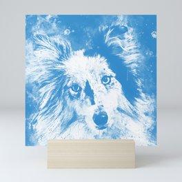 border collie dog 5 portrait wswb Mini Art Print
