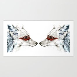 Twin Coyotes Art Print