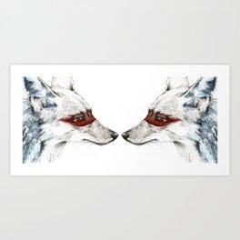 Twin Coyotes Art Print