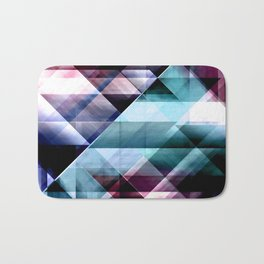 Burgundy Teal and Blue Abstract Geometric Pattern Bath Mat