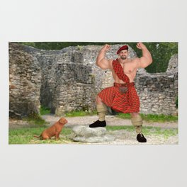 Muscle scotsman with dog Rug