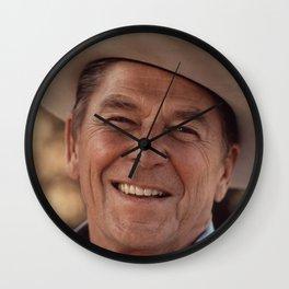 President Ronald Reagan in a Cowboy Hat Wall Clock