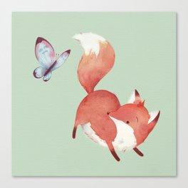 Fox & Butterfly Canvas Print