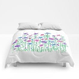 Cheerful spring flowers watercolor Comforters