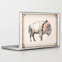 bison Laptop & iPad Skins featuring White Bison by Sandra Dieckmann