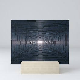 3D Abstract Tunnel With Shifting Cube Square Wallks Mini Art Print