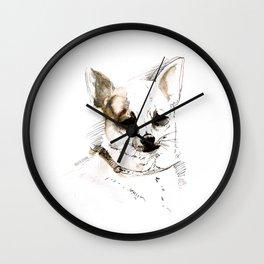 Chihuahua on Watercolor (TOPOS) Wall Clock