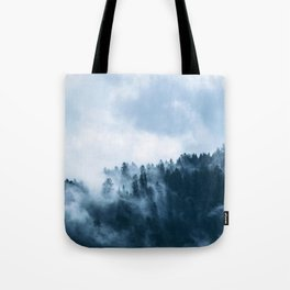 Clear away the fog to see the light. Blue Tote Bag