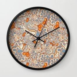 orange and blue pattern Wall Clock