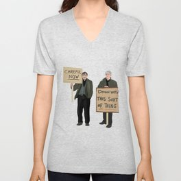 """""""DOWN WITH THIS SORT OF THING!..careful now"""" Unisex V-Neck"""