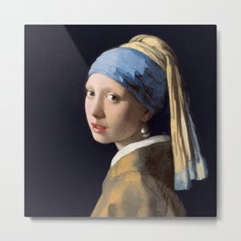 Girl With a Pearl Earring - Vermeer Metal Print