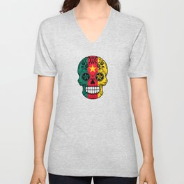 Sugar Skull with Roses and Flag of Cameroon Unisex V-Neck