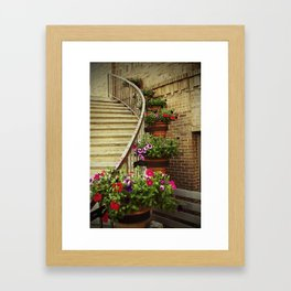 Stairway with Flowers Framed Art Print
