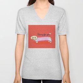 Valentine's Day dachshund dog Unisex V-Neck